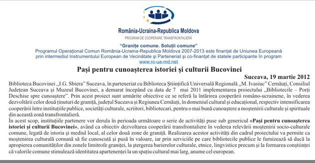 Paşi pentru cunoaşterea istoriei şi culturii Bucovinei