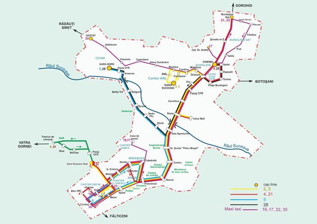 Harta liniilor de autobuz și maxi-taxi TPL